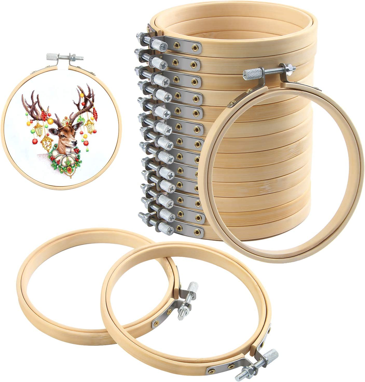 Flurries⭕ 4 Pieces Embroidery Hoops Set DIY Tool Kit 6.7 7.8 9 10.2 Bamboo Wood Frame Circle Cross Stitch Rings for Art Craft Handy Sewing Needlework Dream Catcher Ornament Gift
