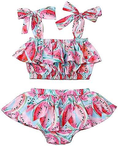 Baby Toddler Big Girl Ruffle Outfits Watermelon Set Short Sleeve Top Shorts