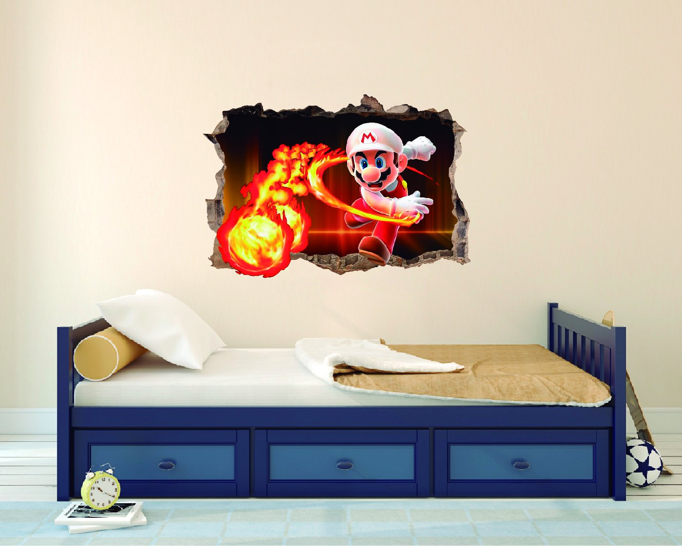 Mario and fireball wall decal - 3D Smashed Wall Effect - Wall Decal For Home Decoration (Wide 20''x14'' Height Inches)