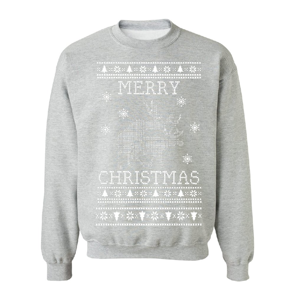 Zexpa Apparel Dirty Deers Makes Love Ugly Christmas Unisex Crewneck Funny Christmas Sweater Sports Grey Small