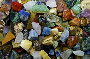 3 Pounds of an Extraordinary Mix of Rough Stones from Around the World Containing Exotic Raw Rocks from Africa, South America, Asia, Australia, the USA and more for Tumbling, Fountains and Decoration!