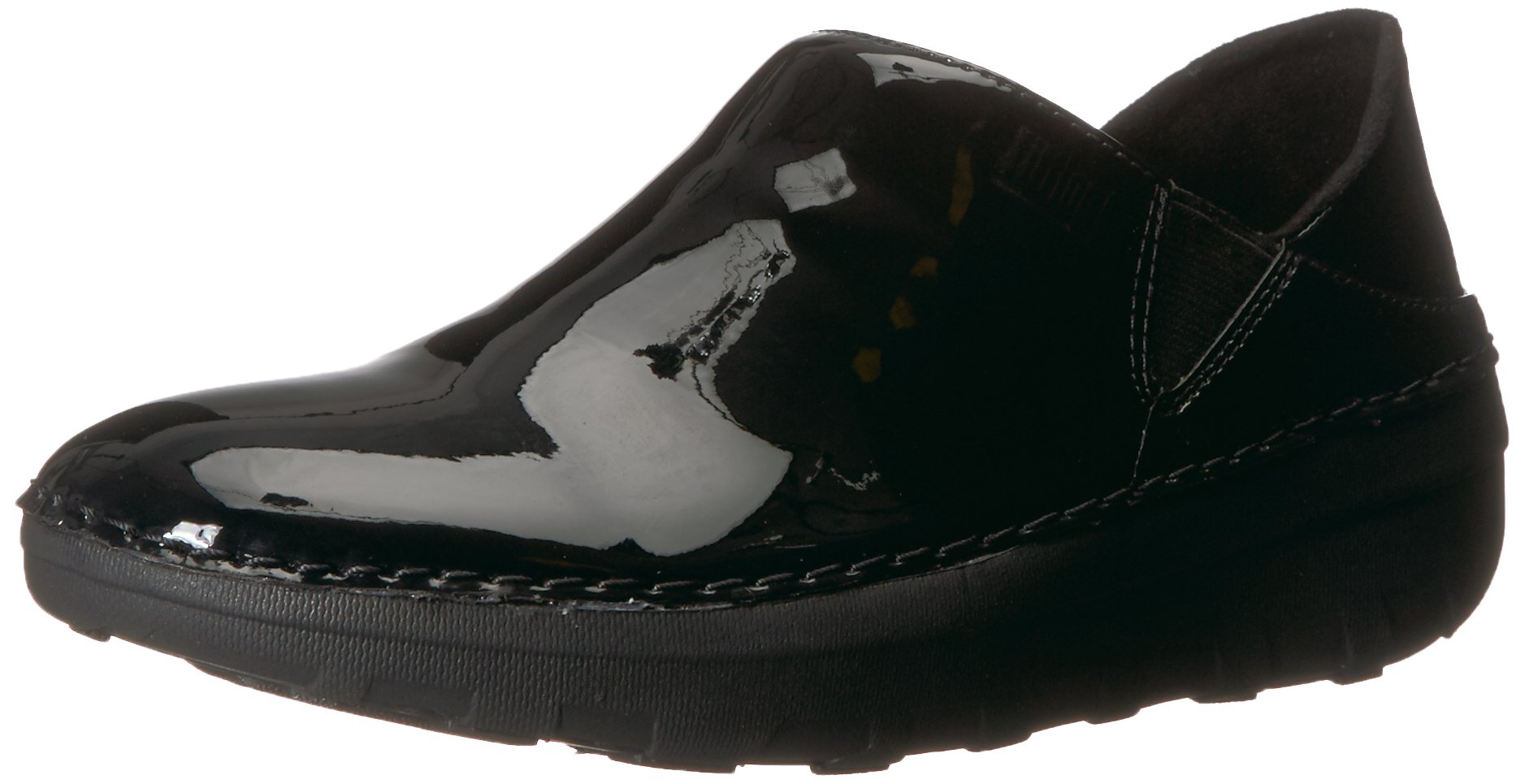 FitFlop Women's Superloafer Medical Professional Shoe, Black Patent, 9 M US