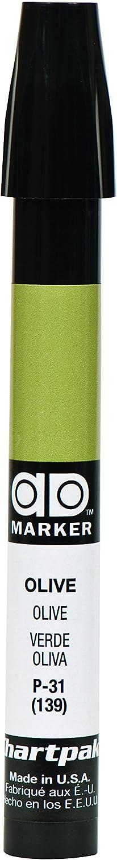 The Original Chartpak AD Marker, Tri-Nib, Olive, 1 Each (P31)