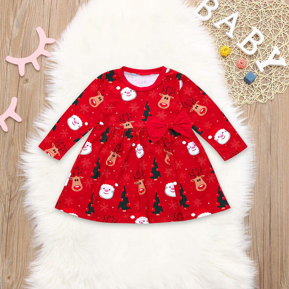 OCEAN-STORE Toddler Kid Baby Girls 6 Months-4T Long Sleeve Santa Print Dress Christmas Outfits Clothes
