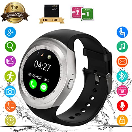 Bluetooth Smart Watch Touch-Screen Waterproof Smartwatch Support SIM Fitness Trackers Monitors, Smart Wrist Watch Compatible with IOS Android Samsung ...