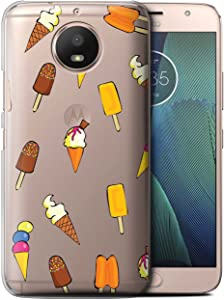 Phone Case for Motorola Moto E4 Plus 2017 Pieces of Food Ice Cream Design Transparent Clear Ultra Slim Thin Hard Back Cover