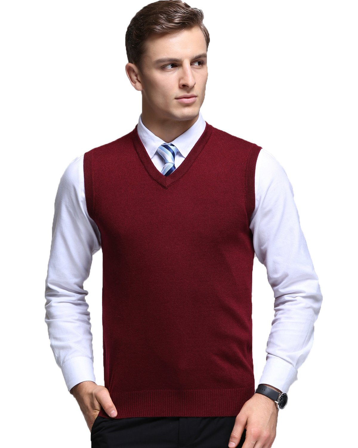 Kinlonsair Mens Casual Slim Fit Solid Lightweight V-Neck Sweater Vest,Red,Large (US) by Kinlonsair