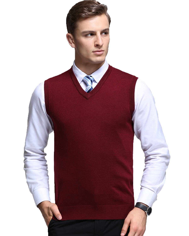 Kinlonsair Mens Casual Slim Fit Solid Lightweight V-Neck Sweater Vest