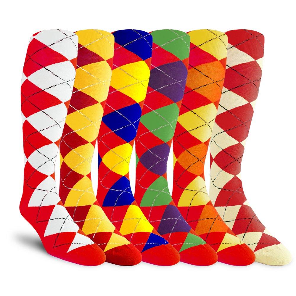 Argyle Golf Socks: Over-the-Calf Bundle Pack: Red Bundle