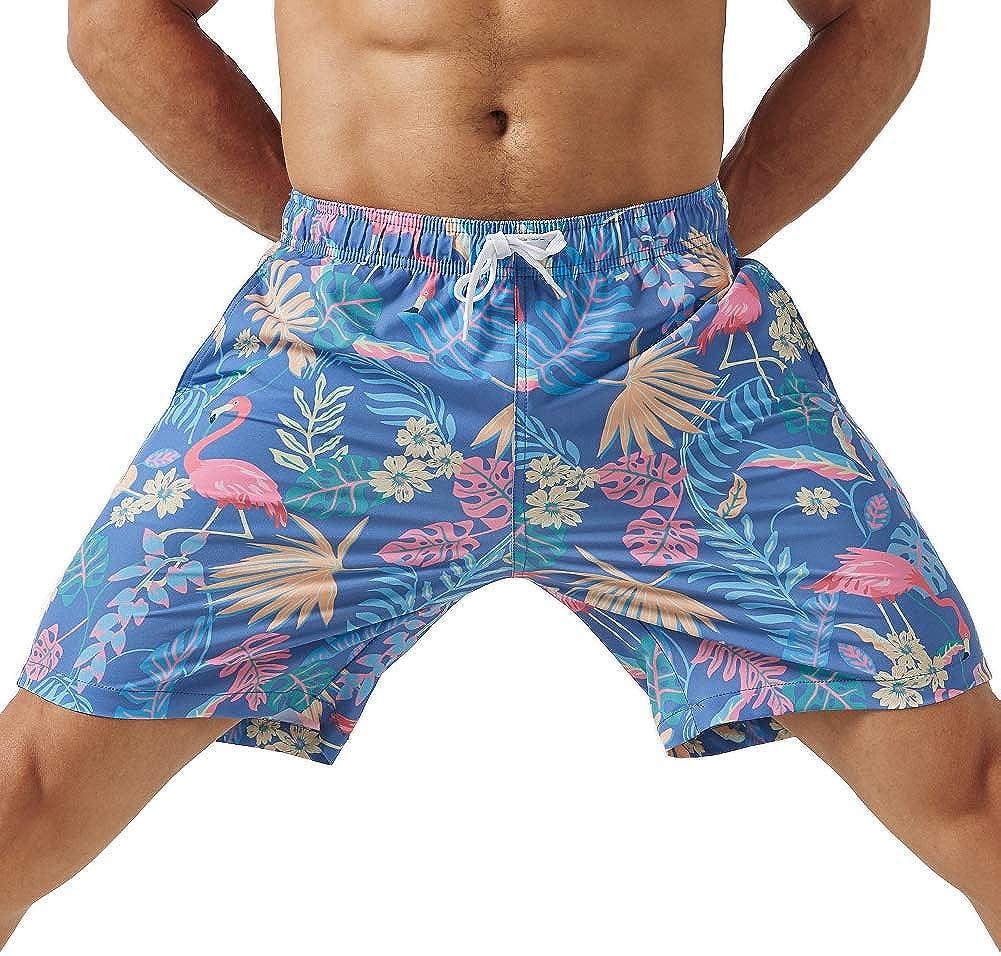 MaaMgic Mens 4 Way Stretchy Swim Trunks Swimwear Summer Board Shorts with Mesh Lining Pocket