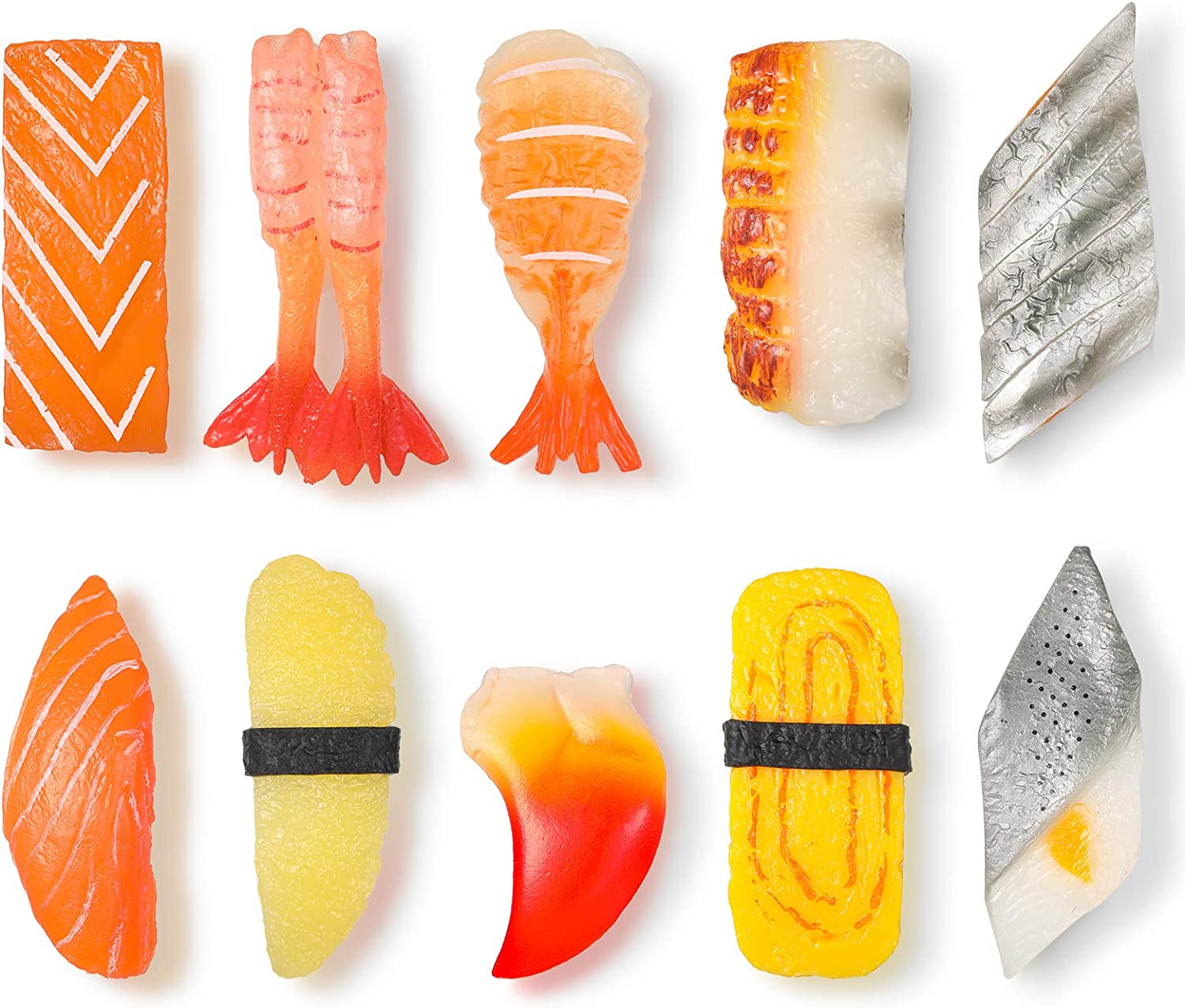 10 Pieces Simulated Sushi Magnets Cute Sushi Whiteboard Magnets Japanese Food Salmon Fridge Magnet for Home and Office Decoration