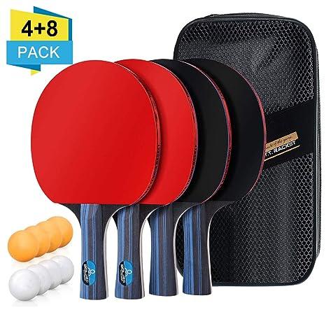 BHGWR Sets de Ping Pong, Sets de Raquetas de Tenis de Mesa 4 Palas Ping Pong y 8 Pelotas Ping Pong, Set Raqueta de Ping Pong en una Bolsa de Nylon ...