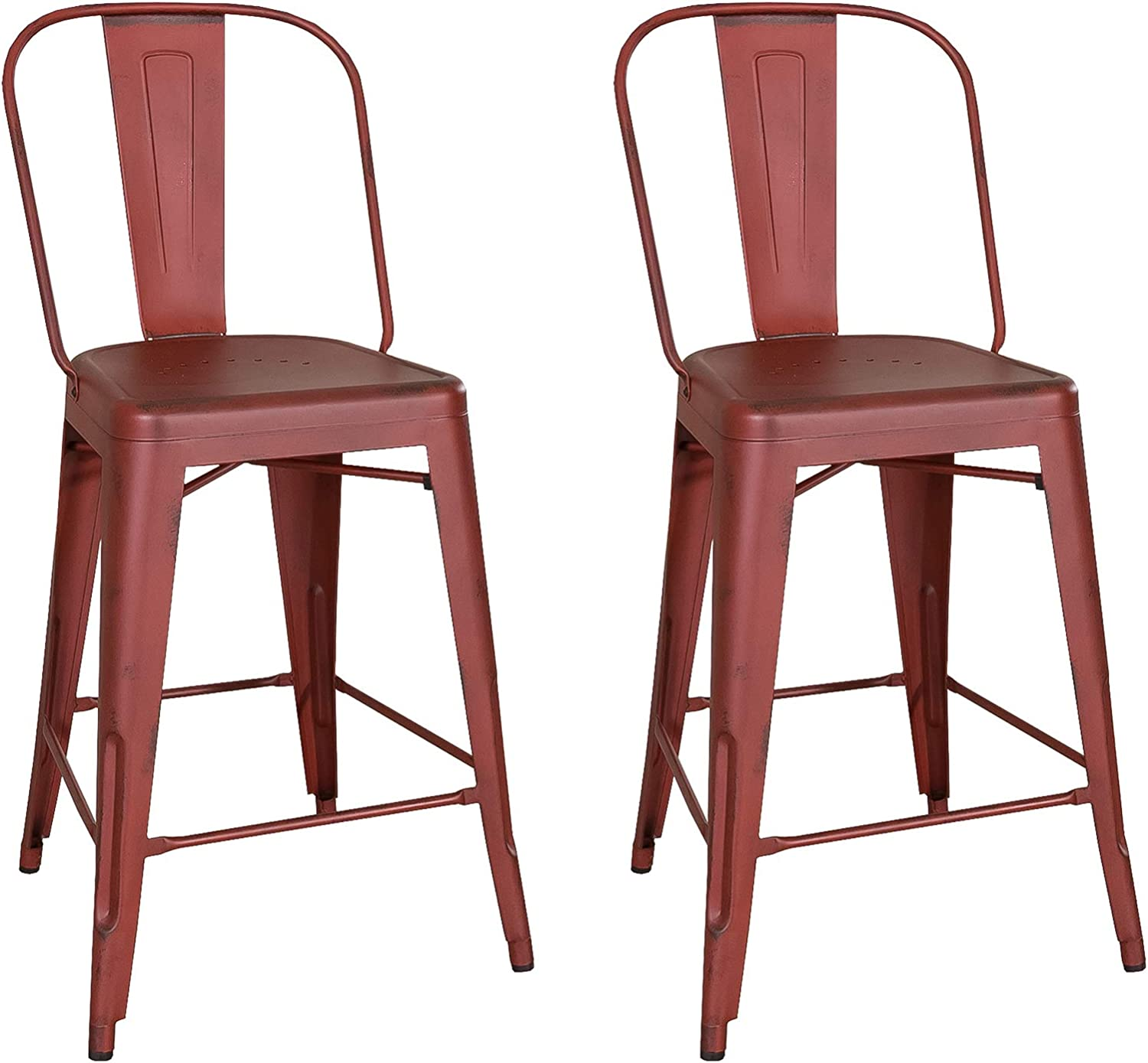 Liberty Furniture Industries Vintage Series (Set of 2) Bow Back Counter Chair, W21 x D22 x H43, Red