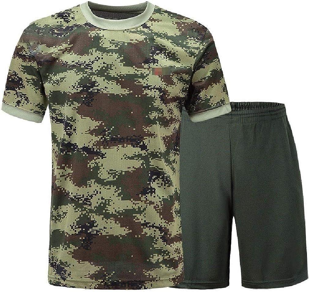 Zimaes-Men Dry Cool Camouflage Comfort Army Short-Sleeve Sweatsuit Pants Set