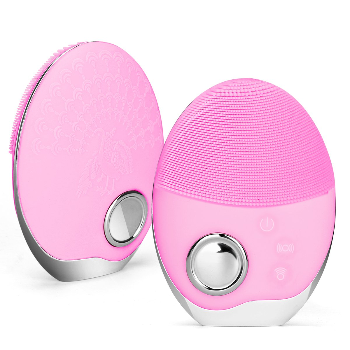 Sonic Facial Cleansing Brush, Joly Face Massager IPX7 Waterproof Face Brush with Wireless Charger 15 Speeds Deep Cleansing for Gentle Exfoliating Removing Blackhead Reduce Acne Skin Care (Pink)