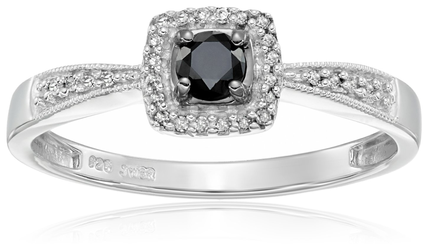 Sterling Silver Black and White Diamond Square Top Promise Ring (1/4 cttw), Size 8