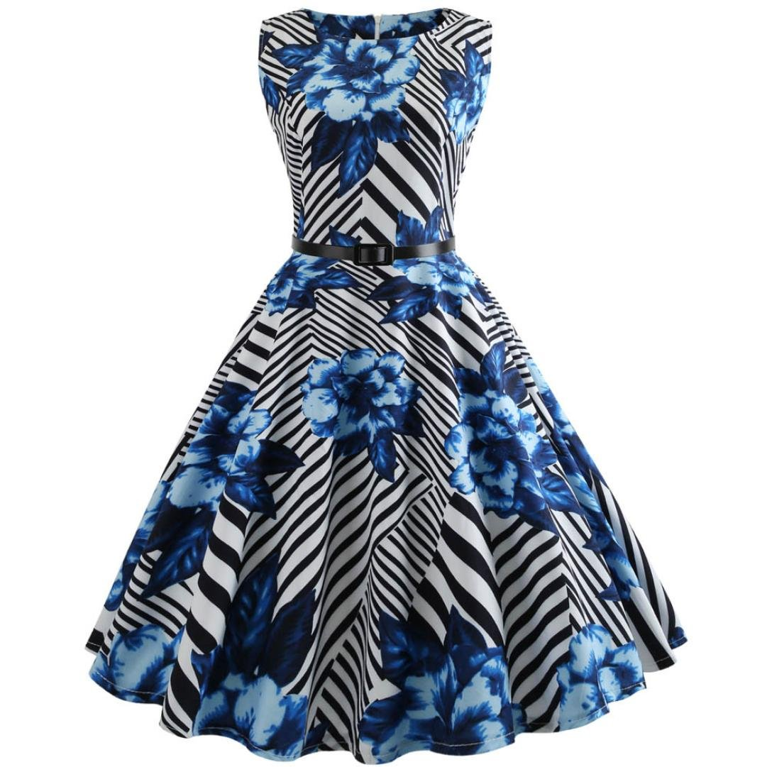 Nikuya Women Sleeveless Casual Evening Party Prom Vintage Printing Bodycon Swing Dress (Blue, XXL)