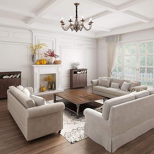 Jaycomey 8-Lights Chandelier,Vintage French Country Chandelier,Metal Bronze Living Room Chandelier,Pendant Light Fixture