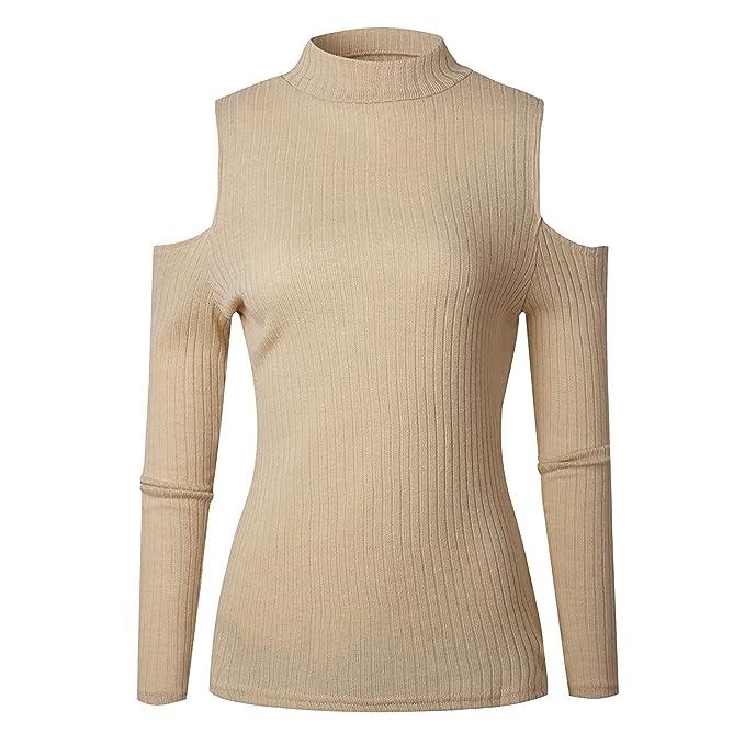 Betrothales Elegantes Mujer Camisas Sudaderas Cuello Redondo Off Shoulder Camisa De Manga Larga Sweater Pullover Blusa Color Sólido Casuales Tops Shirts: ...