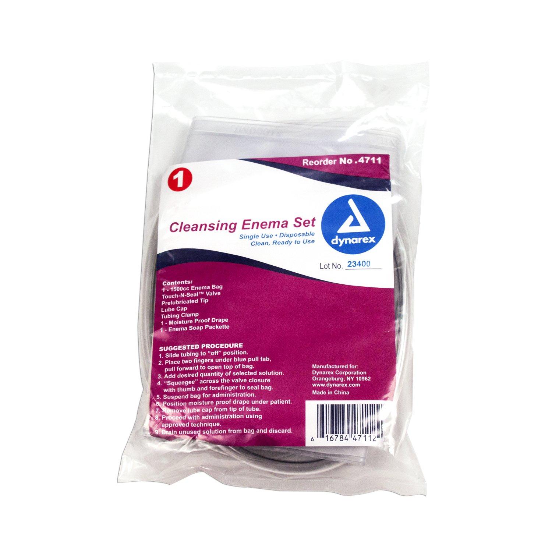 Dynarex 4711 Cleansing Enema Bag Sets, 60 Inch tubes (Pack of 48)