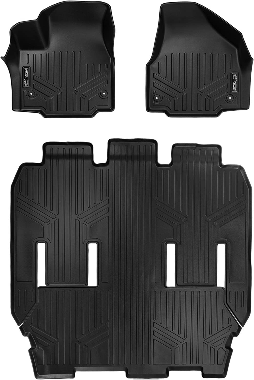 MAXFLOORMAT Floor Mats for Chrysler Pacifica 3 Rows Set 2017 Black