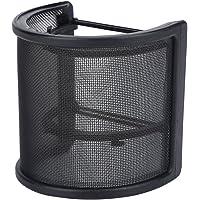 Soporte protector de estudio, malla de metal y doble capa de espuma para micrófono, parabrisas en forma de U