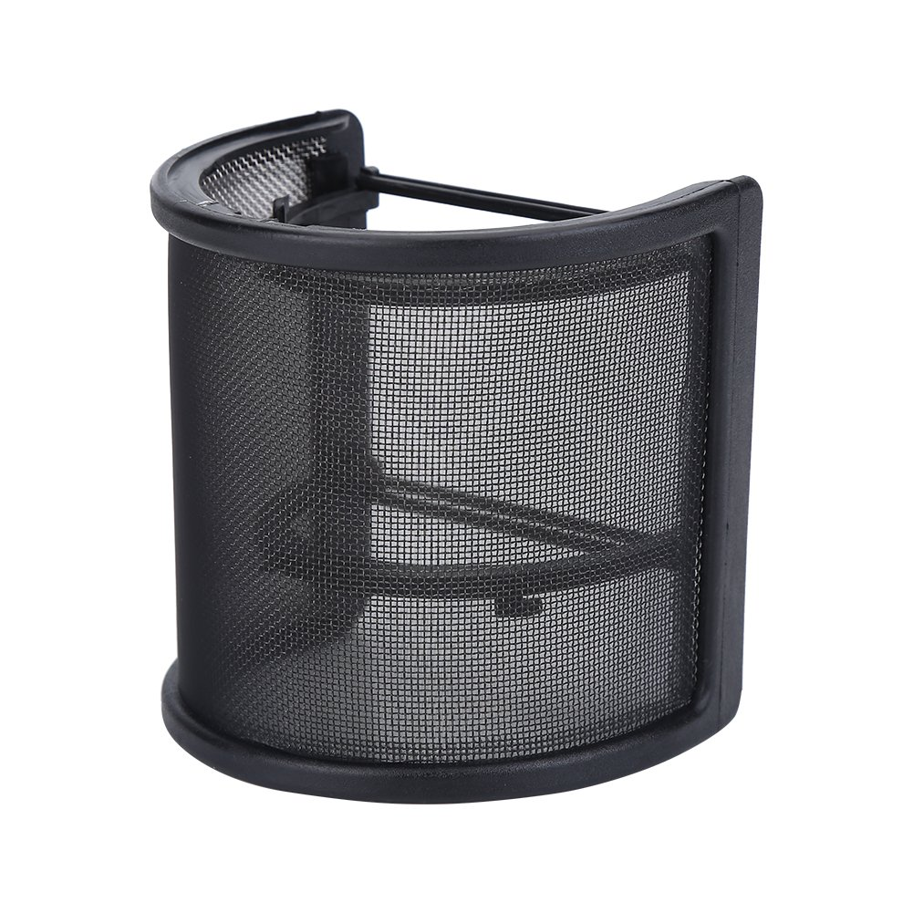 Microphone Windscreen, Metal Mesh and Dual Foam Layer Mic Cover Windshield U Shape Microphone Pop Filter Studio Shield Mount Dilwe