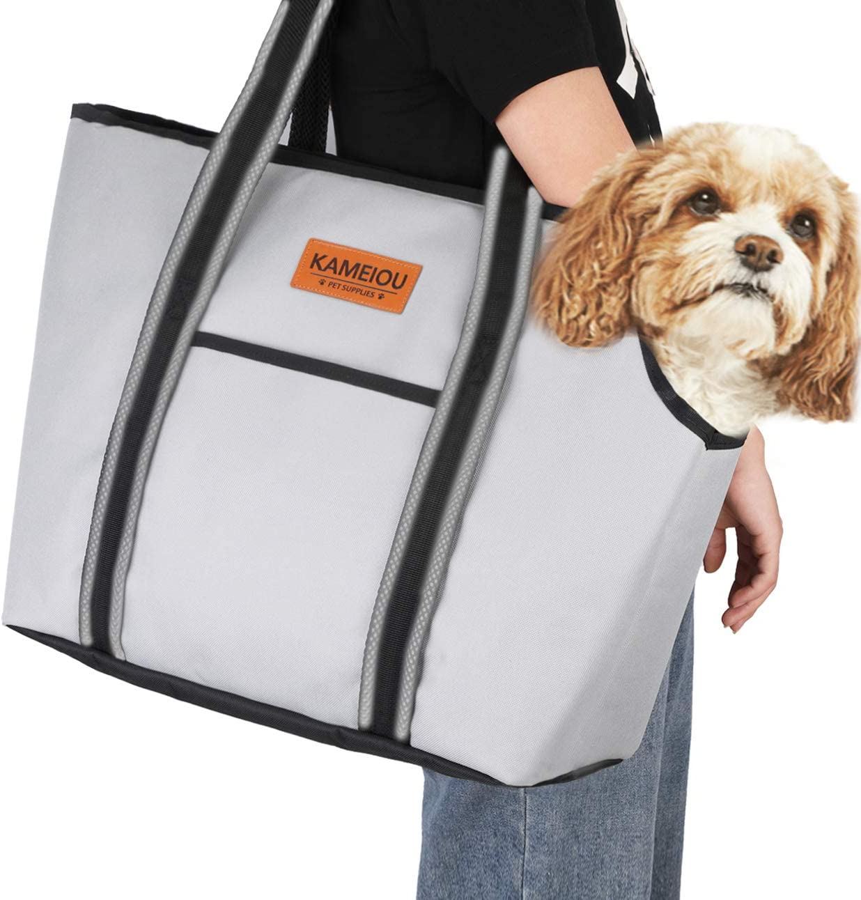 Pet Dog Purse Carrier Bag for Small Dogs Puppy Cats Travel Soft-Sided Tote Carriers with Pockets Secure Hook Pedal Outcrop Design Portable Small Pet Carriers for Outdoor Subway Doggy Carriers