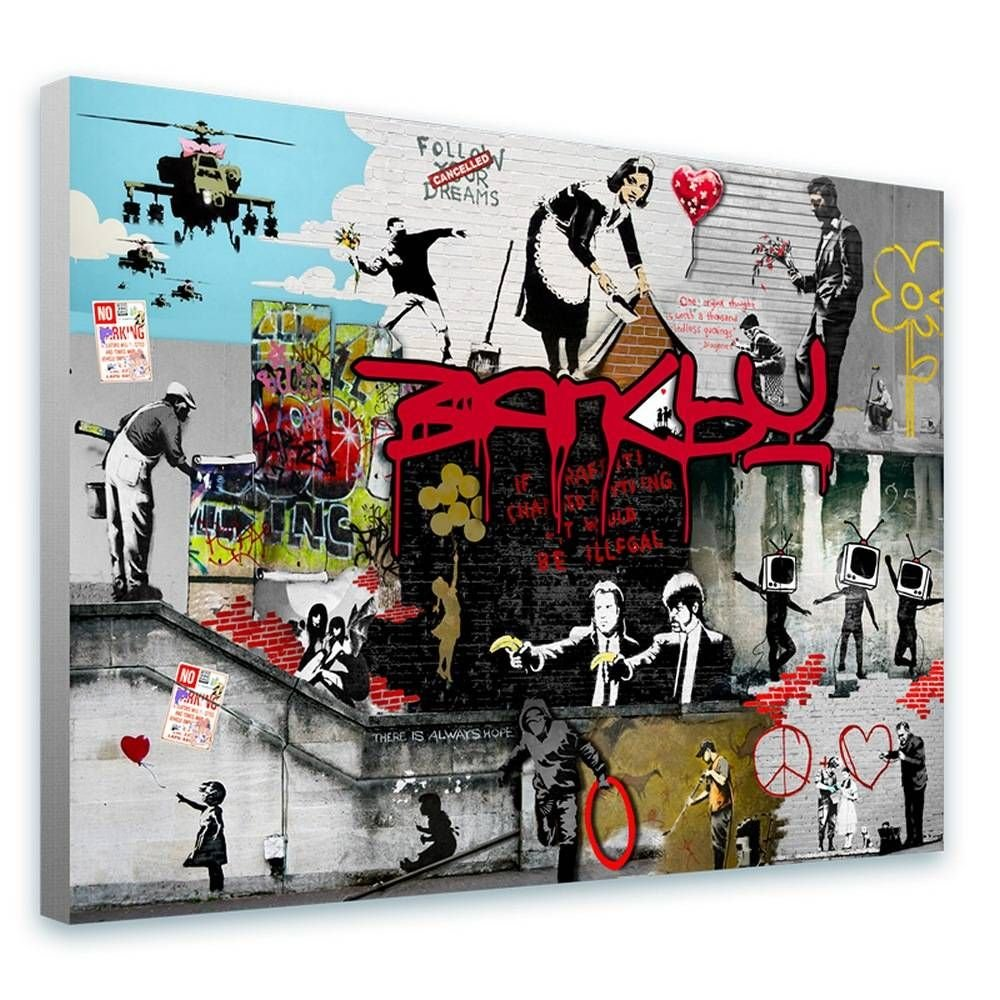 Alonline Art - Unique Collage #156 Cleaning Lady Pulp Fiction by Banksy | framed stretched canvas on a ready to hang frame - 100% cotton - gallery wrapped | 27''x20'' - 68x51cm | Wall art home decor by Alonline Art