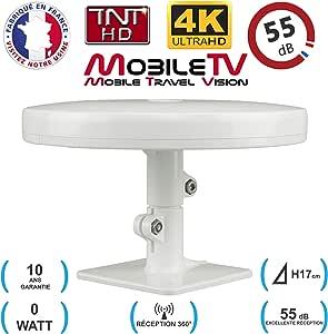 Antena de TV HD 4K TNT Omni-direccional 55dB Camper / Caravana / Camión / Van / Bote / Bus / Truck - Omni PRO PLUS MobileTV - Garantía de 10 años