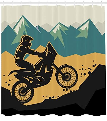 Dongingp Dirt Bike Shower Curtain Motocross On The Mountain Region Grunge Effect Action Race