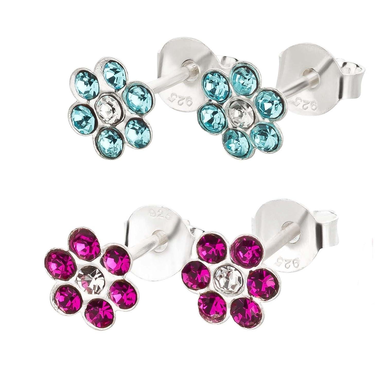 2 paia di 2 orecchini a forma di fiore in argento 925 SL-Silver con confezione regalo