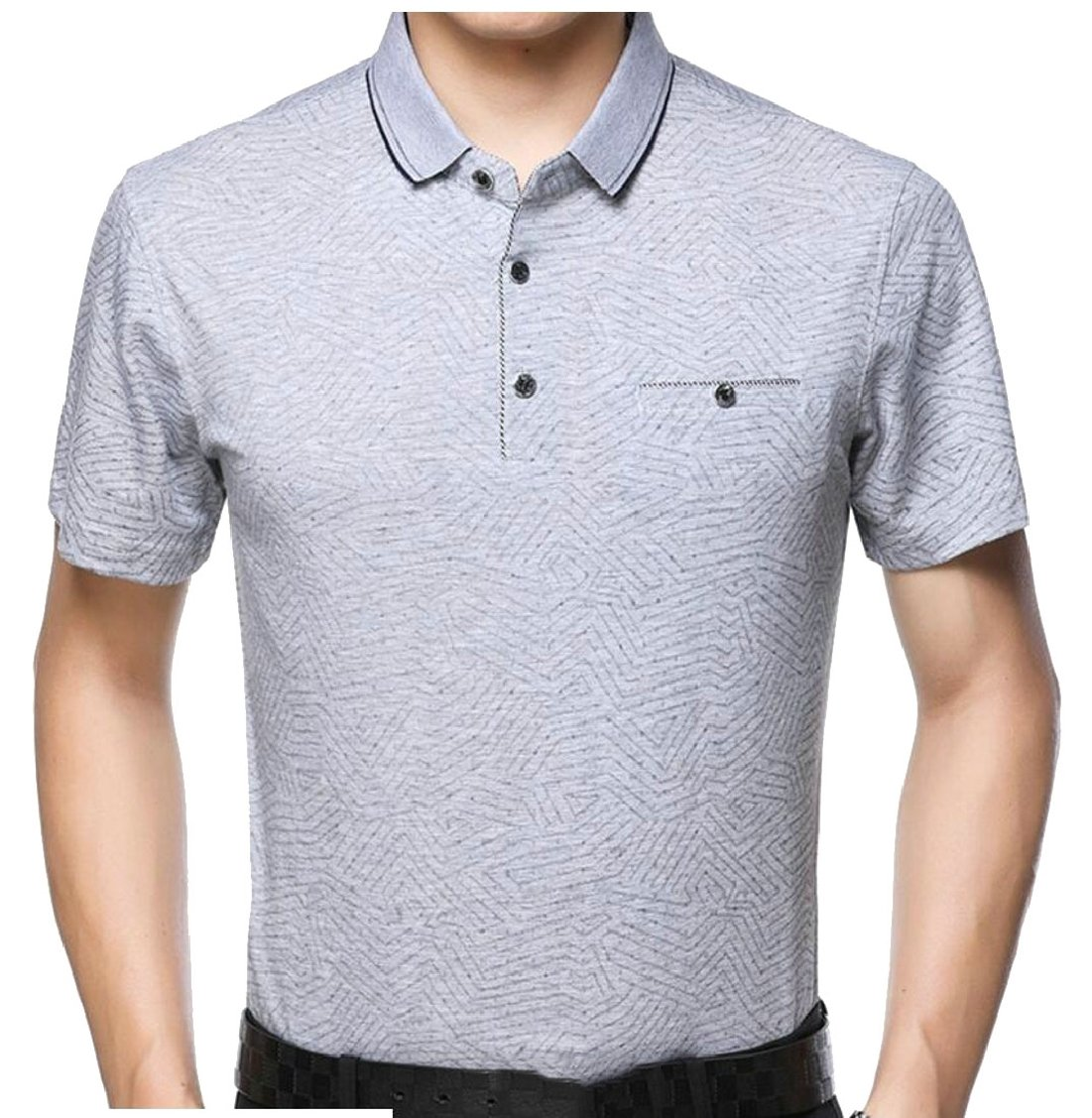 Jaycargogo Mens Summer Short Sleeve Classic Business Polo Shirt At