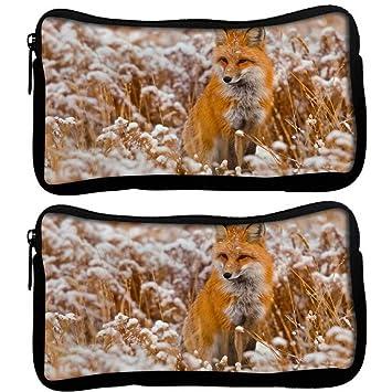 Snoogg Pack De 2 Fox en color blanco jardín tela funda estudiante pluma lápiz caso bolsa de cosméticos bolsa de monedero: Amazon.es: Oficina y papelería