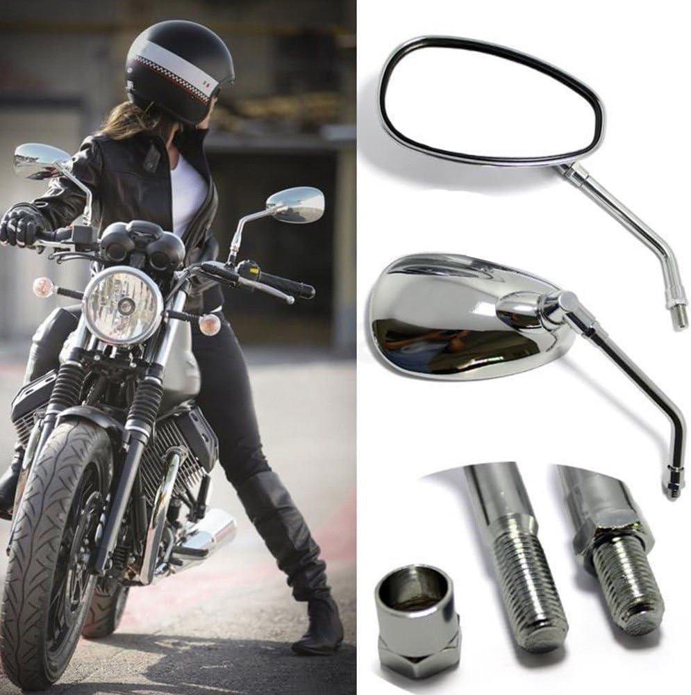 DREAMIZER Chrome Motorcycle Handlebar Mirrors Rearview Side Mirrors for Scooter Street Bike Cruiser Chopper Sport Bike ATV