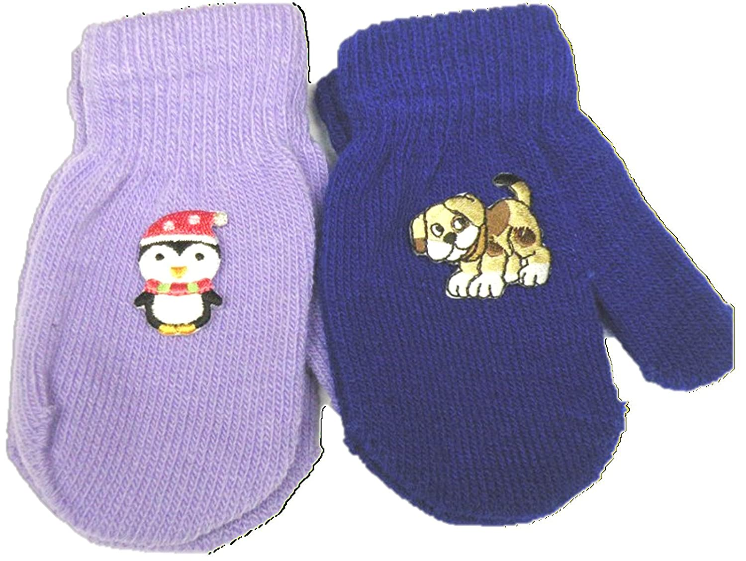 Set of Two Pairs Magic Mittens for Infants with Appliques for Ages 6-24 Months