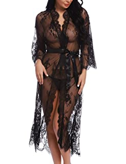 8166b6c49929 RSLOVE Lingerie for Women Sexy Long Lace Kimono Robe Eyelash Babydoll Sheer  Cover Up Dress with