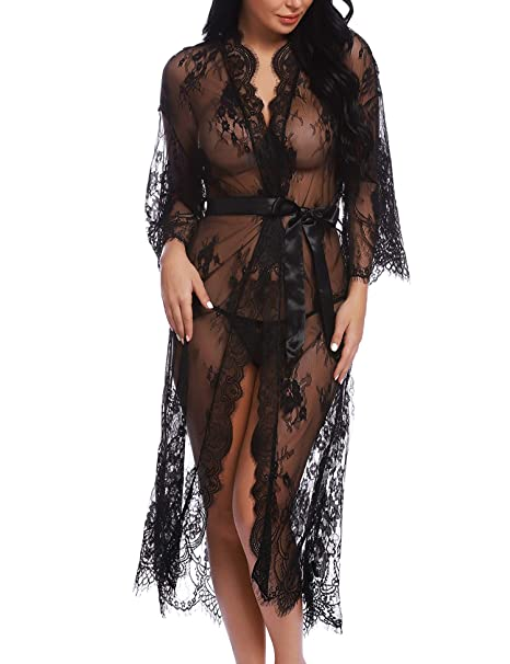 5773f1e088c3d RSLOVE Lingerie for Women Sexy Long Lace Kimono Robe Eyelash Babydoll Sheer  Cover Up Dress with Satin Belt