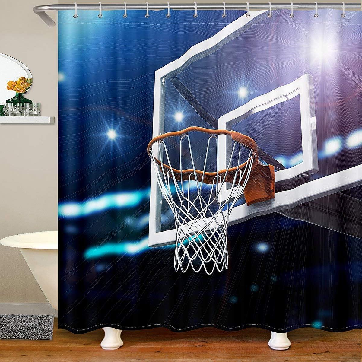 Loussiesd Cortina de ducha de baloncesto accesorios con ganchos 3D Shot Ball Tela Cortina de ducha para niños, deportes, impermeable, 180 x 180 cm