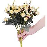 Houda - Bouquet di rose, fiori artificiali in seta, rami con boccioli, decorazione floreale per matrimonio, confezione da 2 Champagne