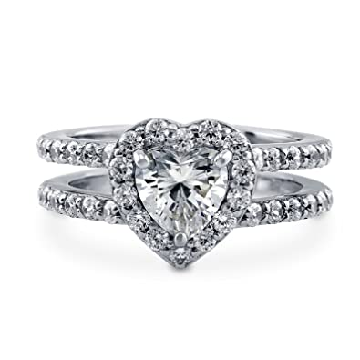 Riegel Ct Herz Diamant Verlobungsring Ring 925 Sterling Silber