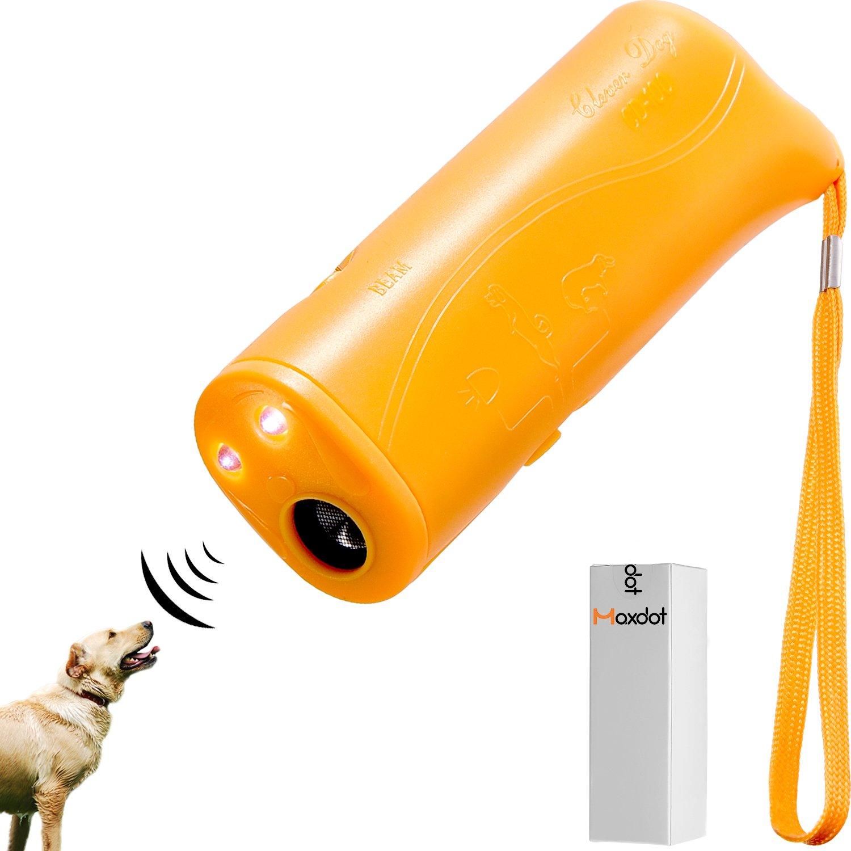 Maxdot LED Ultrasonic Dog Repeller Anti Barking Stop 3 in 1 Device Ultrasonic Dog Training, Yellow (Battery)