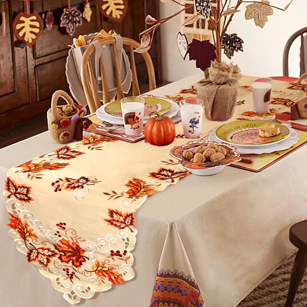 OurWarm 15 x 69 Inch Embroidered Maple Leaves Table Runner, Handmade Table Cover for Fall and Thanksgiving Party Decoration