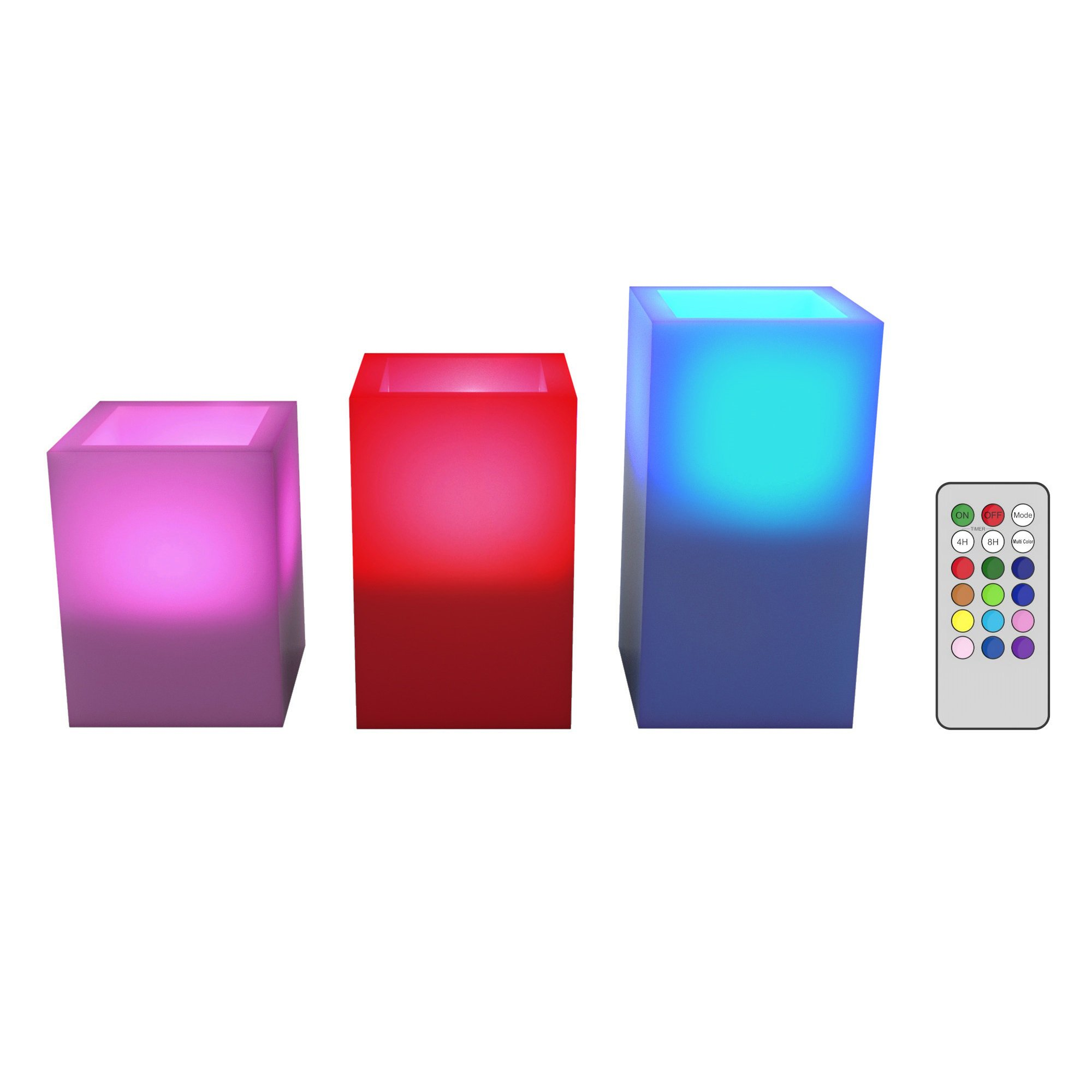 Lavish Home Square Color Changing Flameless Candle with Remote - 3 pc