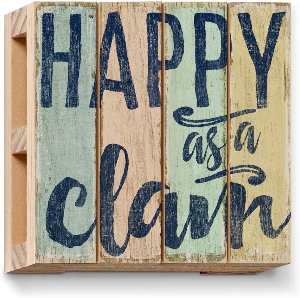 Highland Home Happy As A Clam Single Pallet Wood Coaster 4 inch by 4 inch Square