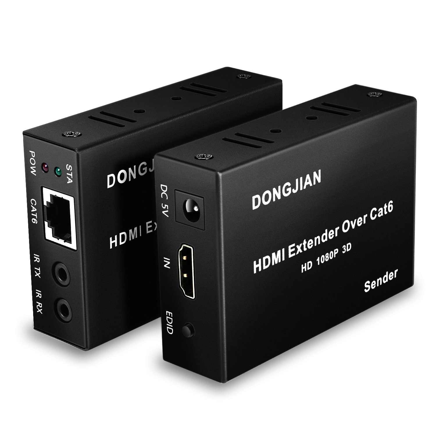 DONGJIAN HDMI Extender Over Cat5e/Cat6 Cable with IR Control for HDTV, DVD, Xbox 360, PS3, Blu-Ray and PCs Support 1080p, 3D