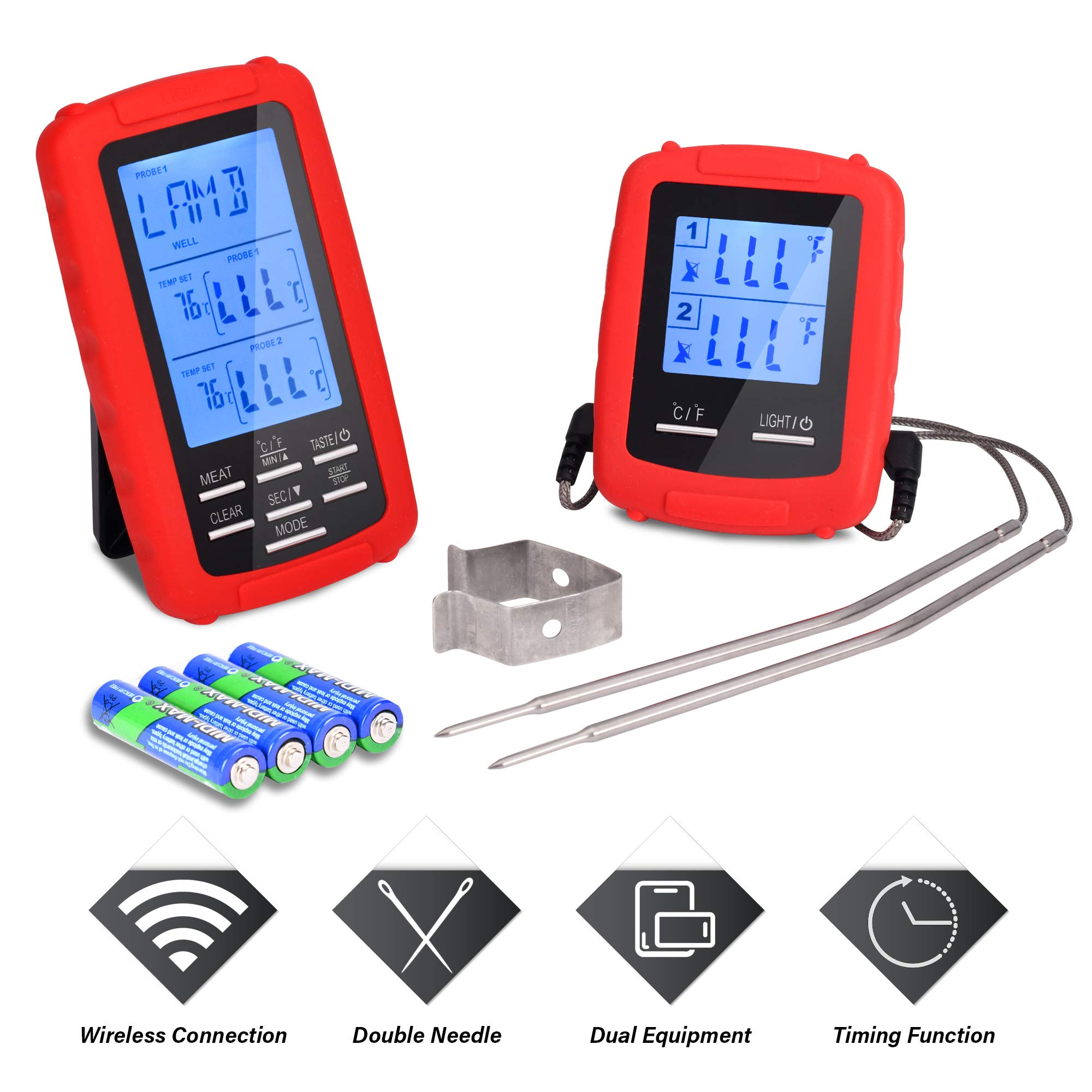 Myom Cooking Thermometers Premium Wireless Remote Digital Cooking Meat Thermometer with Dual Probe Perfect for Oven Smoker Grill BBQ Thermometer THANKS GIVING SPECIAL LOWEST PRICE by Myom Thermometers