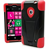 Nokia Lumia 520 Case, MagicMobile Premium Hybrid Shockproof Armor Cover Two Layers of Protection Red Soft Silicone and Black Hard Plastic Cover with Kickstand [ Compatible Only with Nokia Lumia 520 521 in All Carriers]
