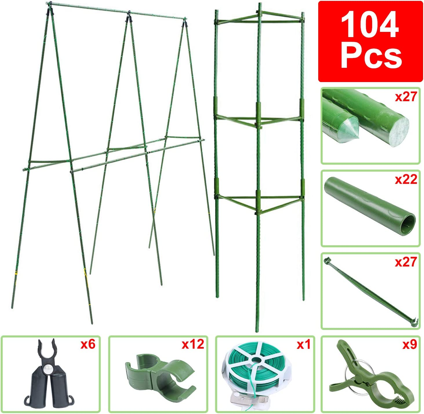 BLIKA 104 Pcs DIY Plant Supports, Tomato Cages Assembled Garden Plant Stakes Vegetable Trellis for Vertical Climbing Plants, 27 Pcs Coated Plant Stakes with 9 Pcs Clips, Twist Tie and Connectors