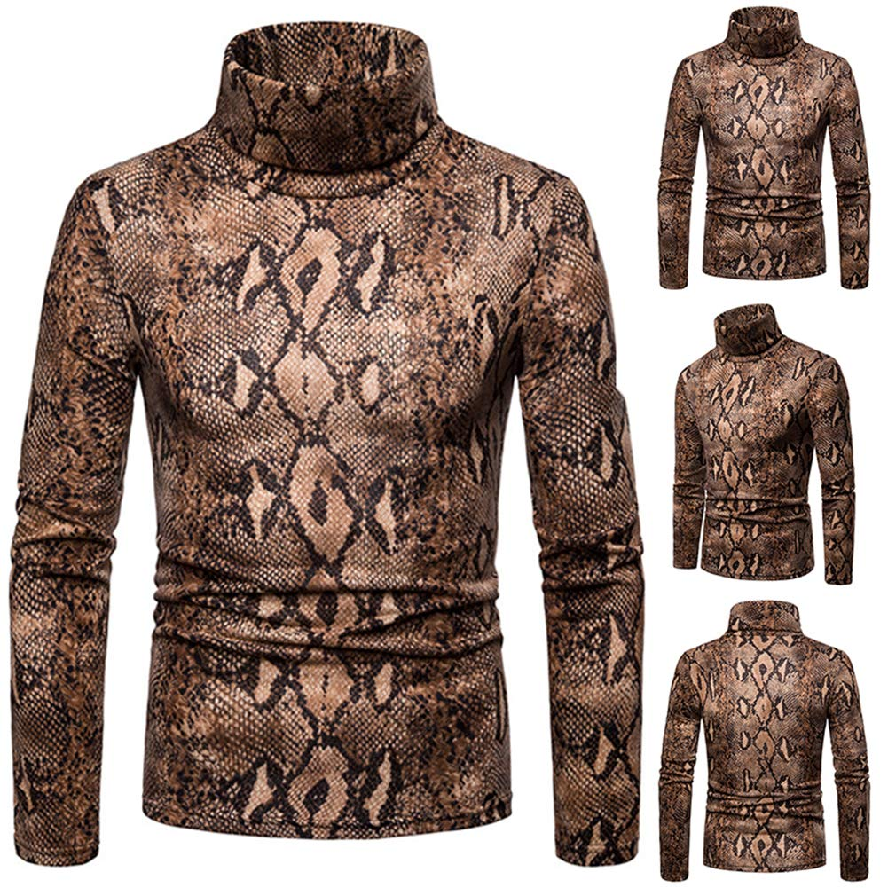 536c41dd840dcb TaLs9yLI Sweaters for Men Winter Snakeskin Print High Neck Long Sleeve Jumper  Men Slim Fit Pullover Top: Amazon.in: Clothing & Accessories